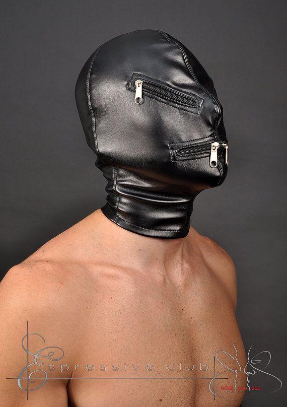 bdsm hood leather mask