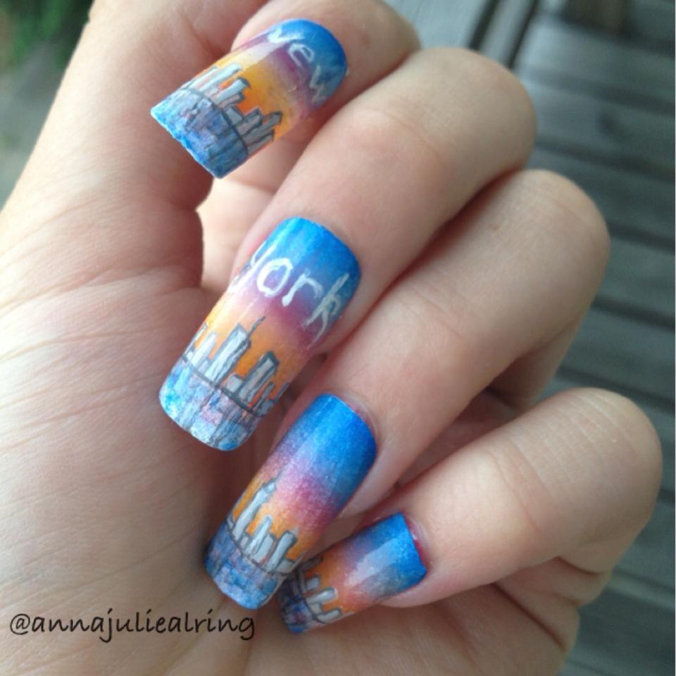 New York nail art:)   Nail Art   Pinterest   Nail art, Art and Nails