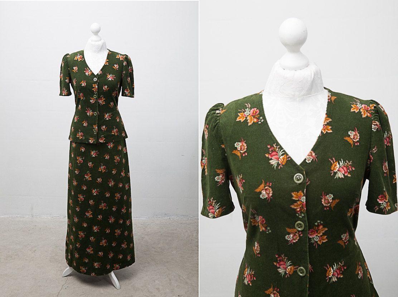 Late 1960 S Women Hippie Dark Green Floral Skirt Suit Size 38