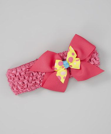Take a look at this Pink Pencil Polka Dot Bow Crochet Headband by Petunia Petals on #zulily today!