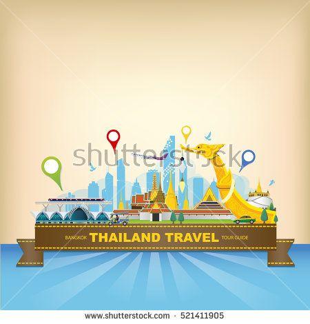 2 x Thailand Skyline Vinyl Stickers Travel Luggage #10062