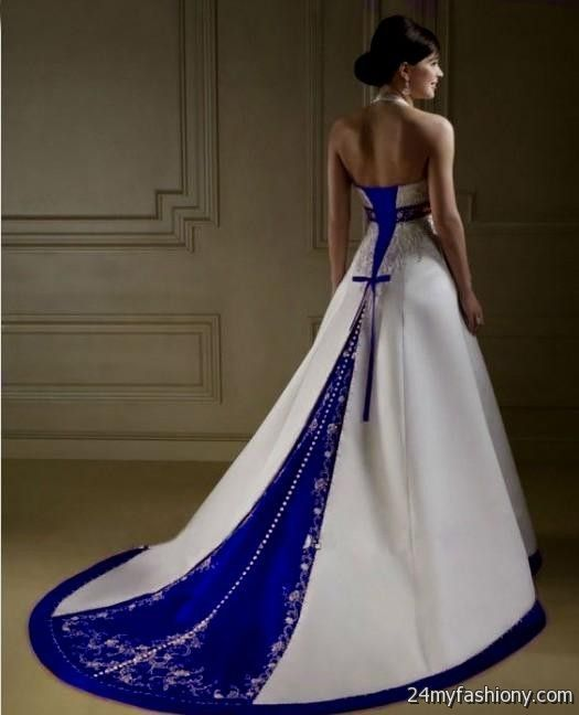 White And Royal Blue Wedding Dresses 2016 2017 B2b Fashion