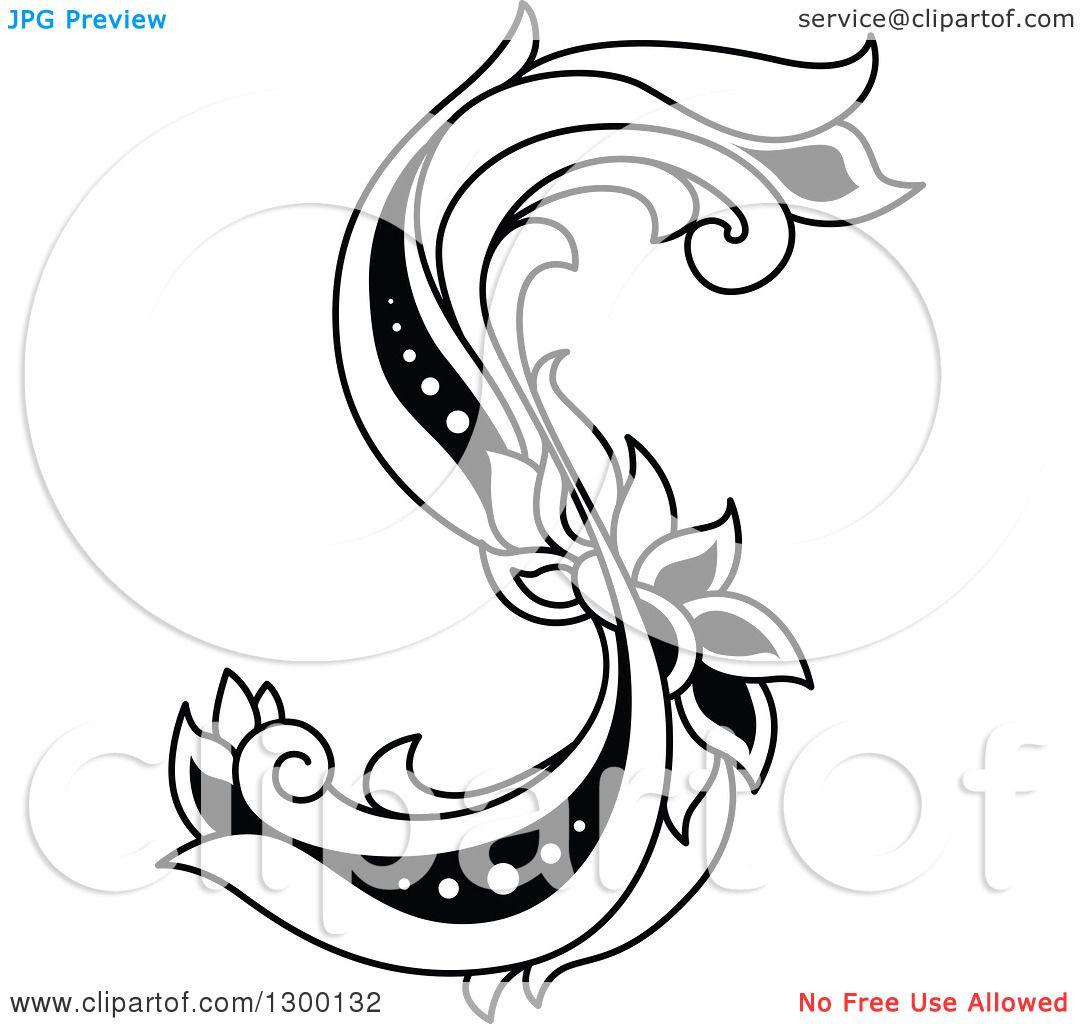 Letter S Clip Art Black And White Free Vector Illustration Illustration Art Prints