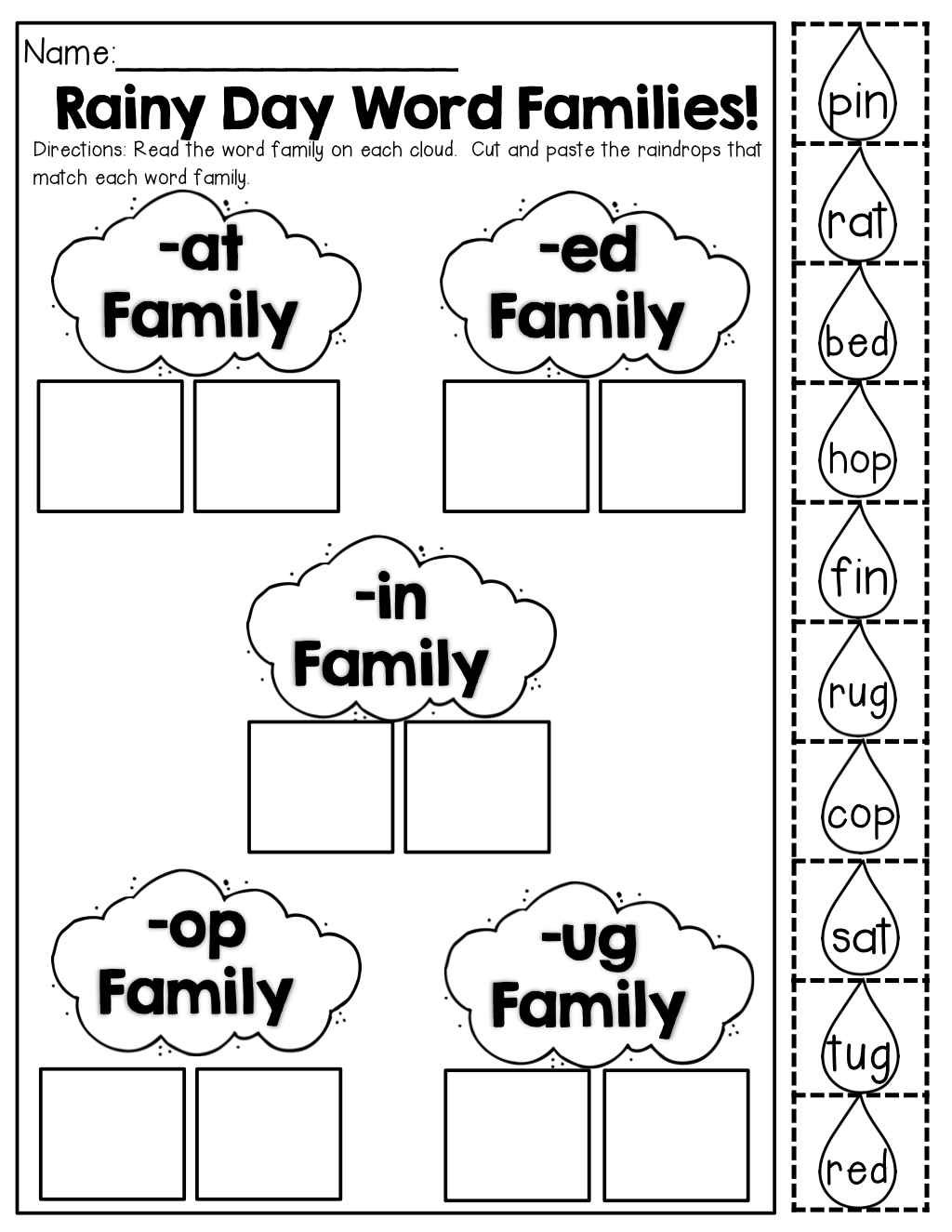 Rainy Day Word Families Make A Match