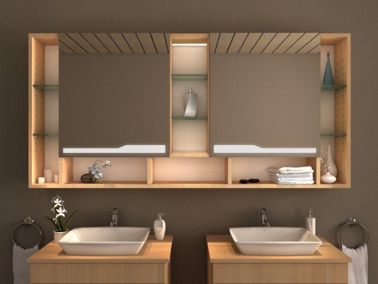 Moderner Led Spiegelschrank Nach Mass Ndash Einbau Moglich Der Massgefertigte Badezimmer Spiegelsch Badezimmer Spiegelschrank Spiegelschrank Waschbecken Design