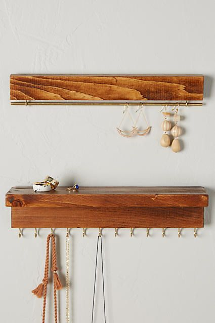 The Knotted Wood Hanging Jewelry Organizer Room ideas Pinterest