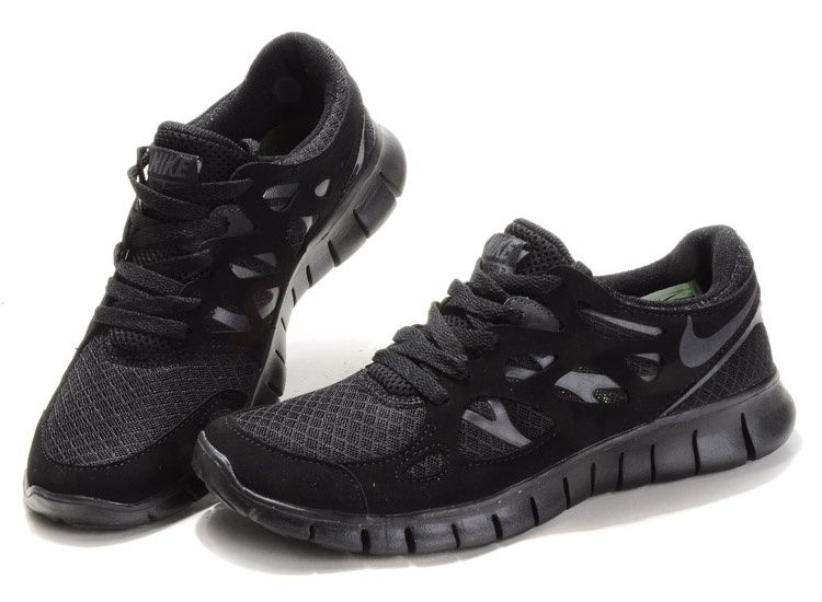 nike free run black and black