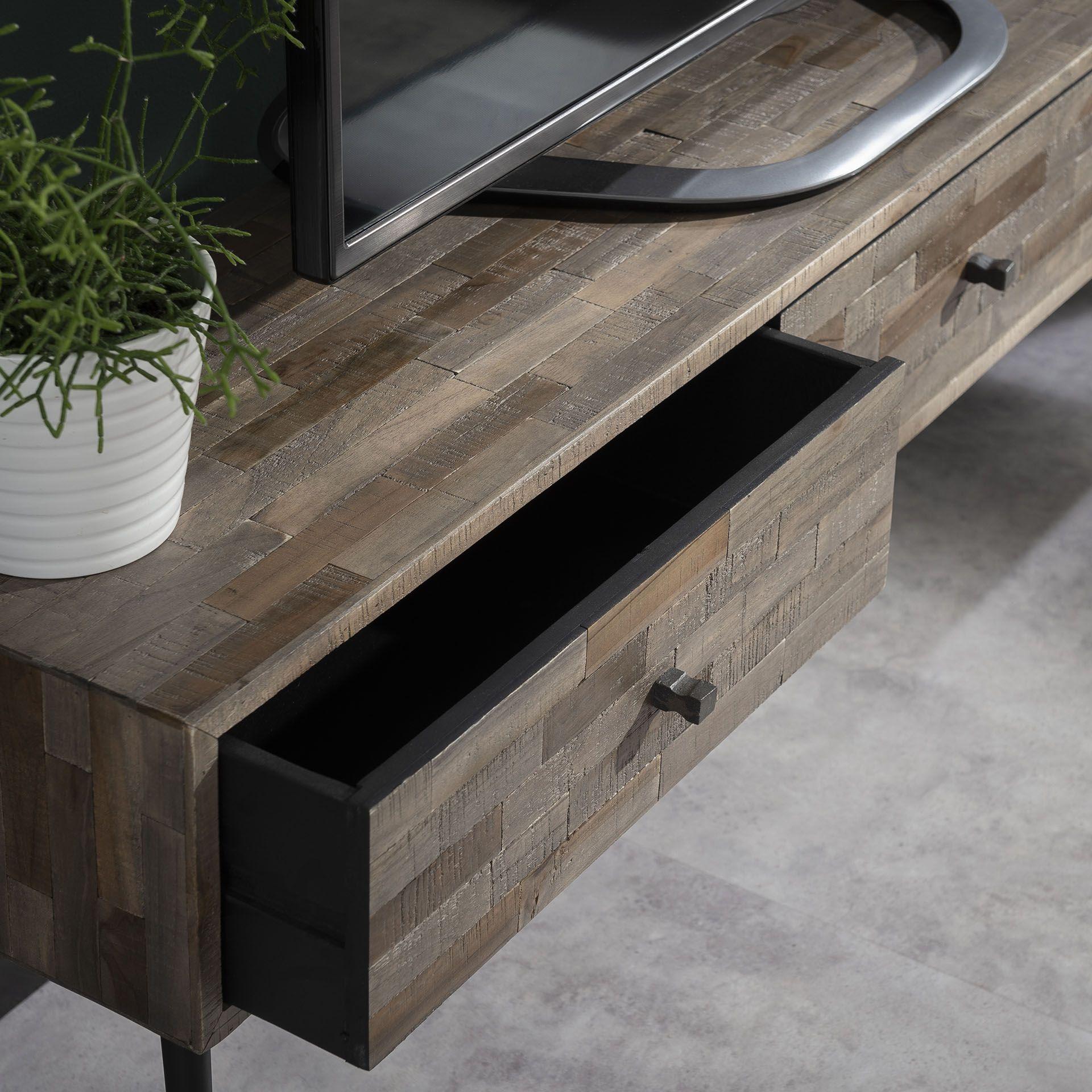 meuble tv avec rangement bois de teck