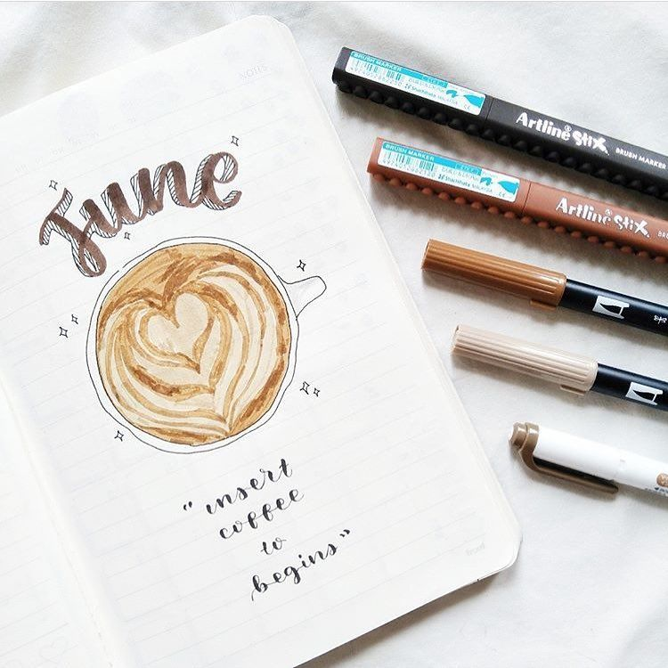 bullet journal monthly cover page june cover page cappuccino drawing the
