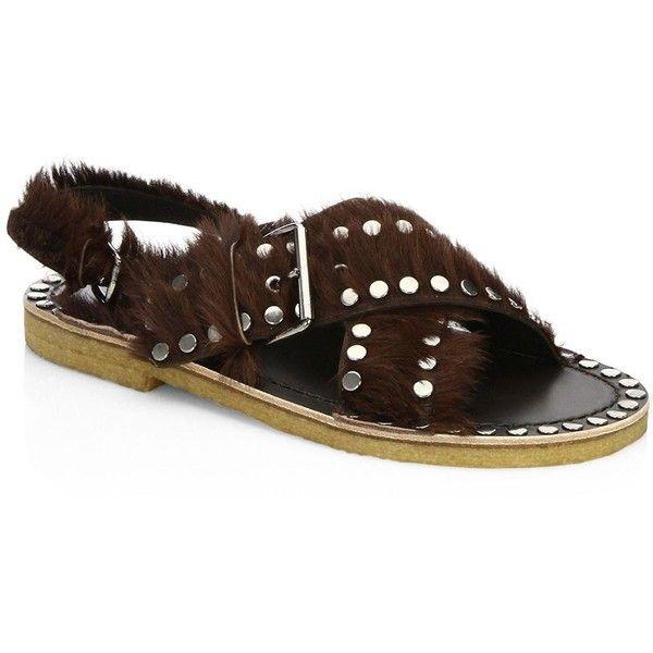 Prada Studded Pony Hair Crisscross Sandals qogKhv