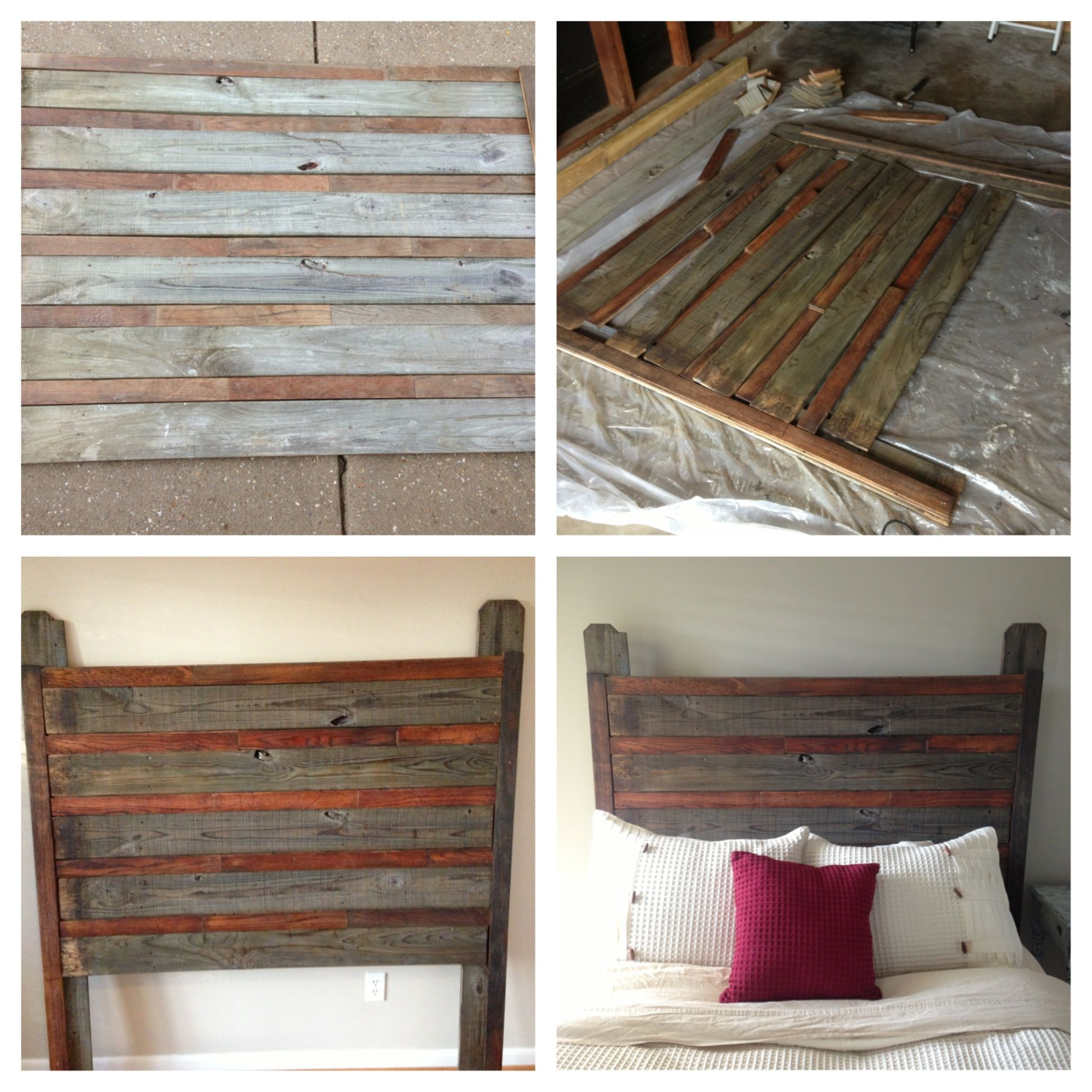 Queen headboard i made from old tongue and groove oak flooring and diy headboards queen headboard i made from old tongue and groove oak flooring and pine fence stain solutioingenieria Gallery
