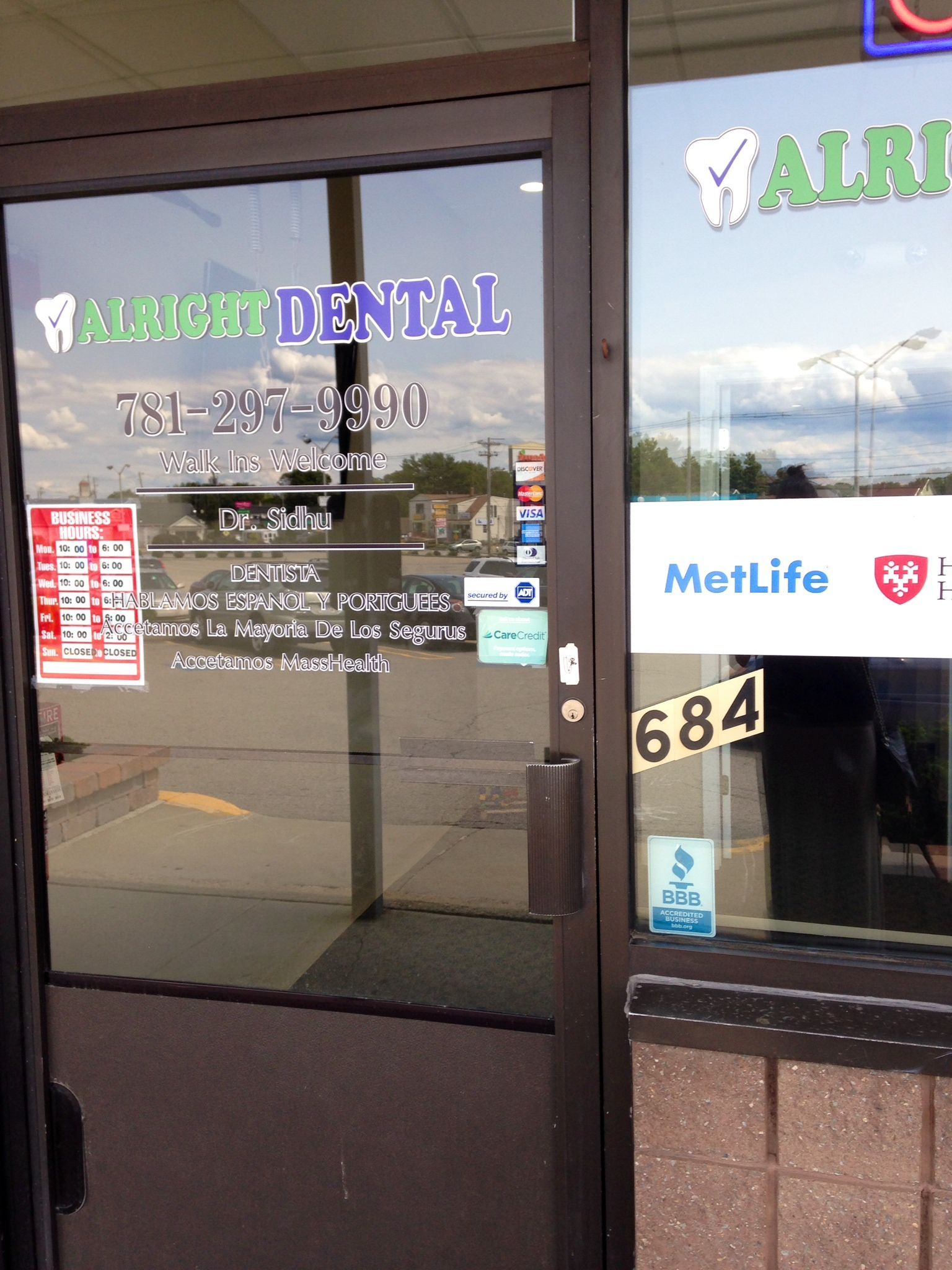 Alright Dental In Stoughton Ma Proudly Displaying Their Bbb Accreditation Dental Bbb Stoughton