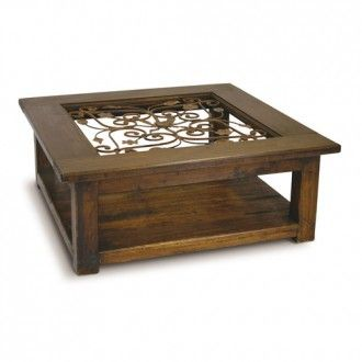 Square Timber Coffee Table With Wrought Iron And Glass Centre