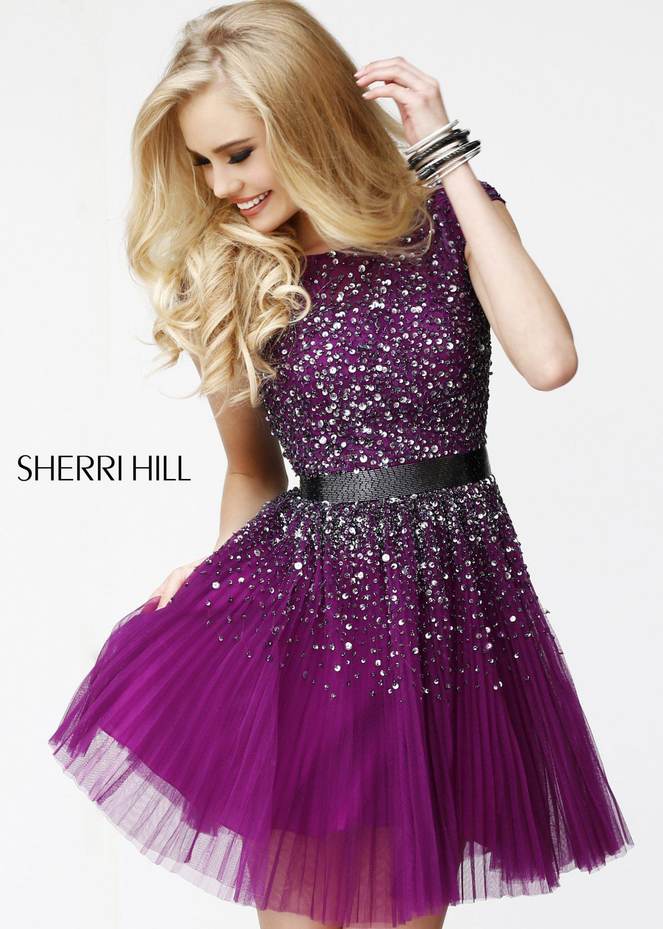 Sherri Hill 51078 Plunge V-Neck Lace Jersey Gown | Purple, Shorts ...