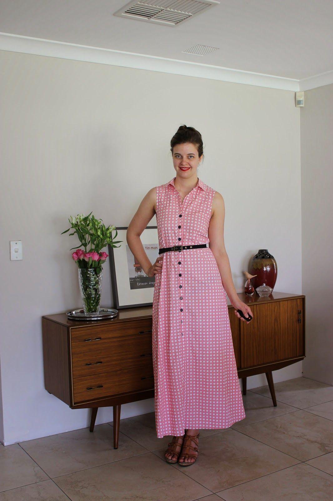 She's Sew Classic Chic Sleeveless Wenona Maxi Shirt Dress