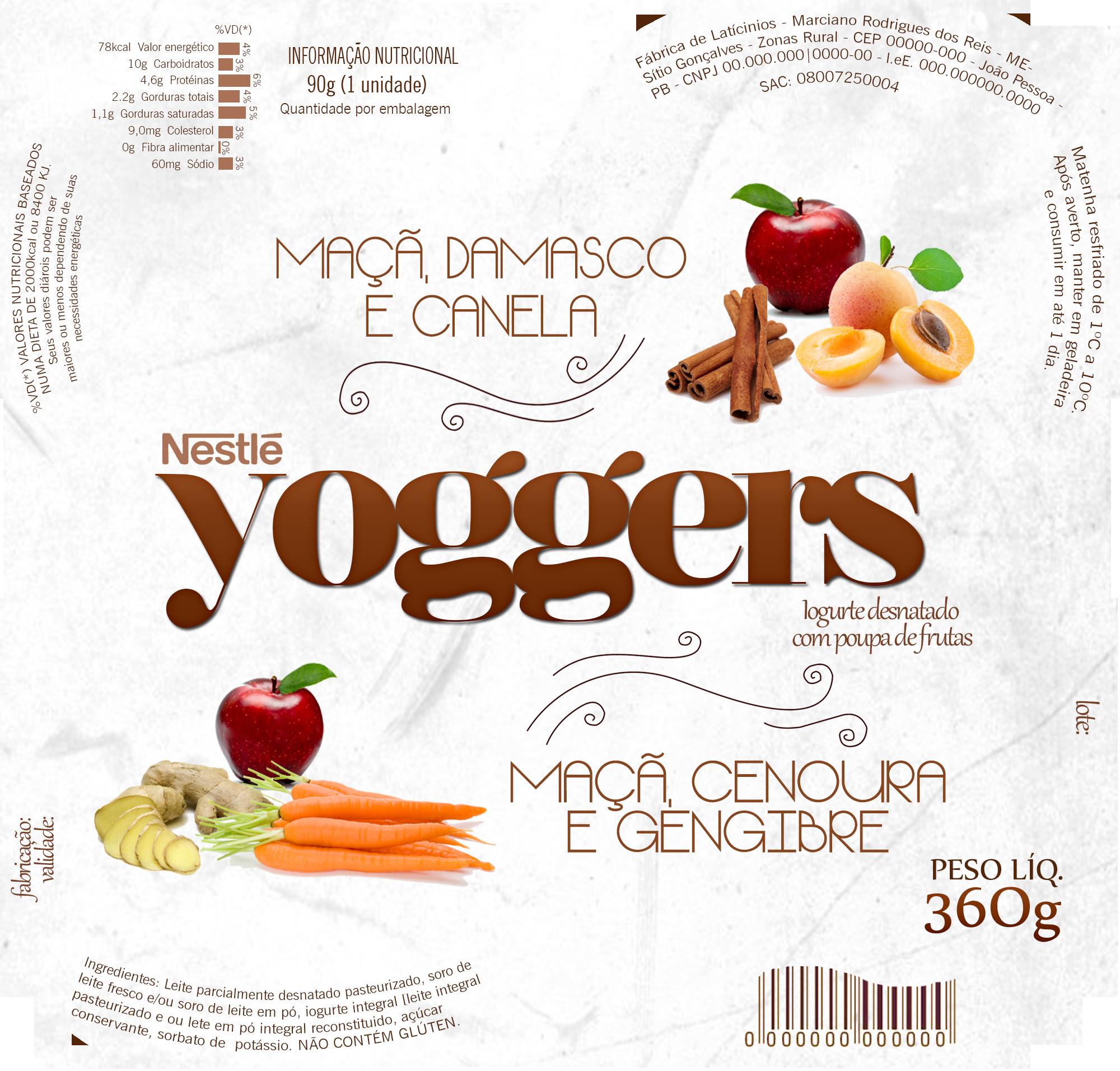 Rótulo para uma embalagem de Iogurte
