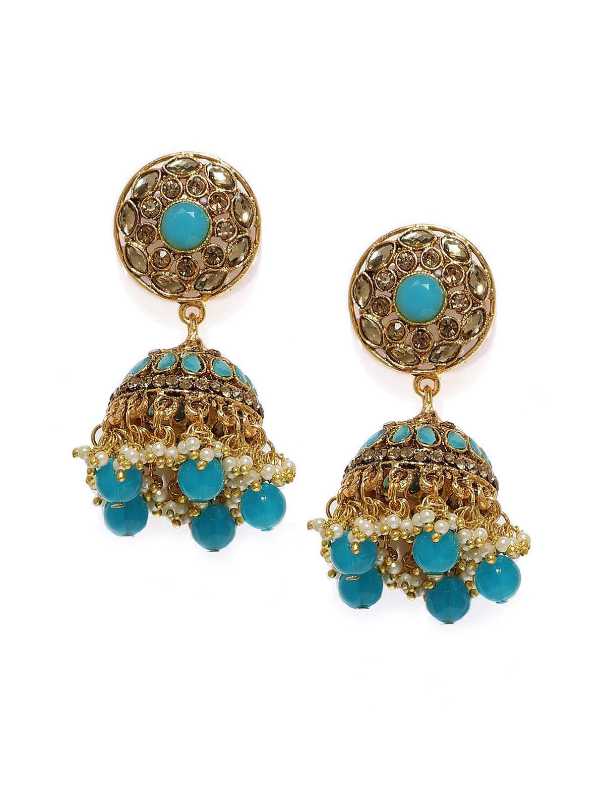 Gold tone traditional jhumka earring zaveri pearls jewellery