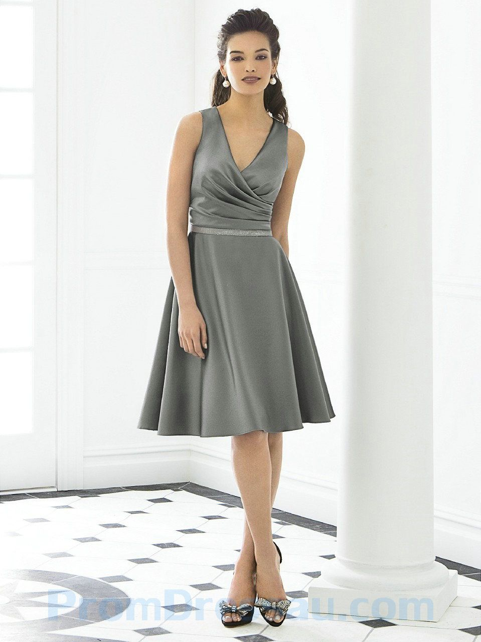 Deep v neck sexy a line ruched knee length grey bridesmaid dress deep v neck sexy a line ruched knee length grey bridesmaid dress ombrellifo Gallery