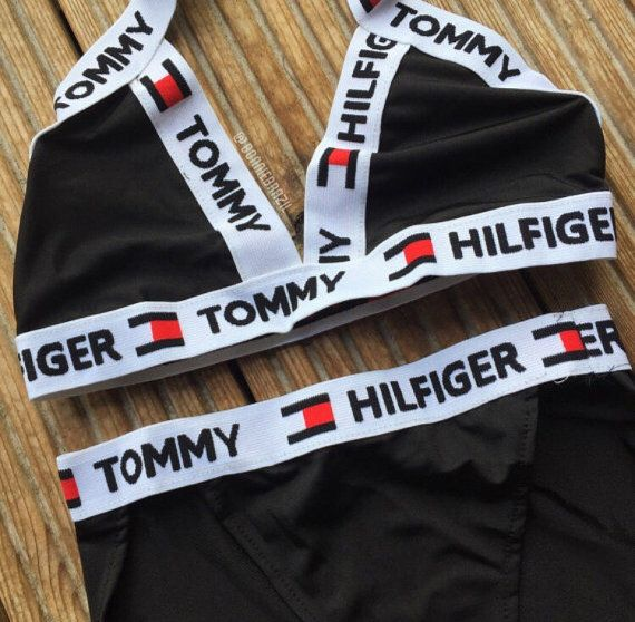 want reworked tommy hilfiger cross over logo bikini set. Black Bedroom Furniture Sets. Home Design Ideas