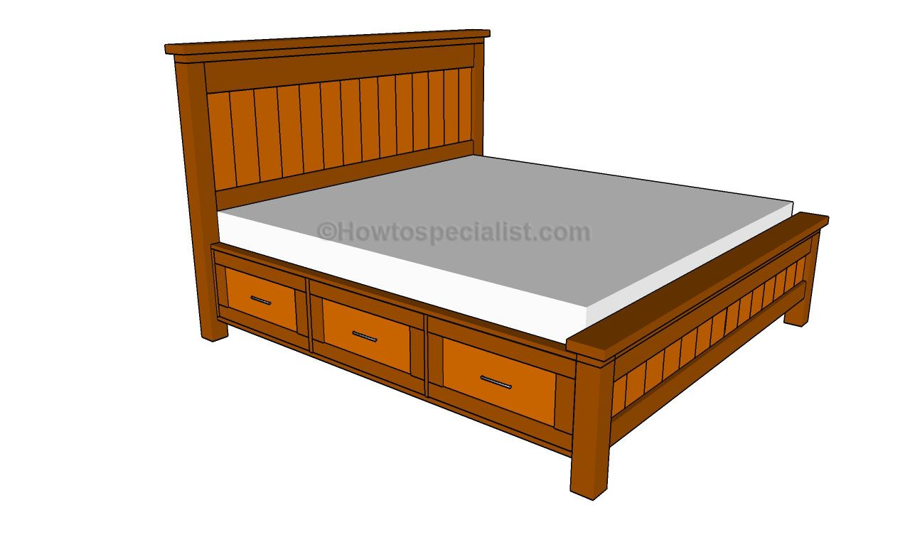 Diy Bed How To Build A Bed Frame With Drawers Howtospecialist How To