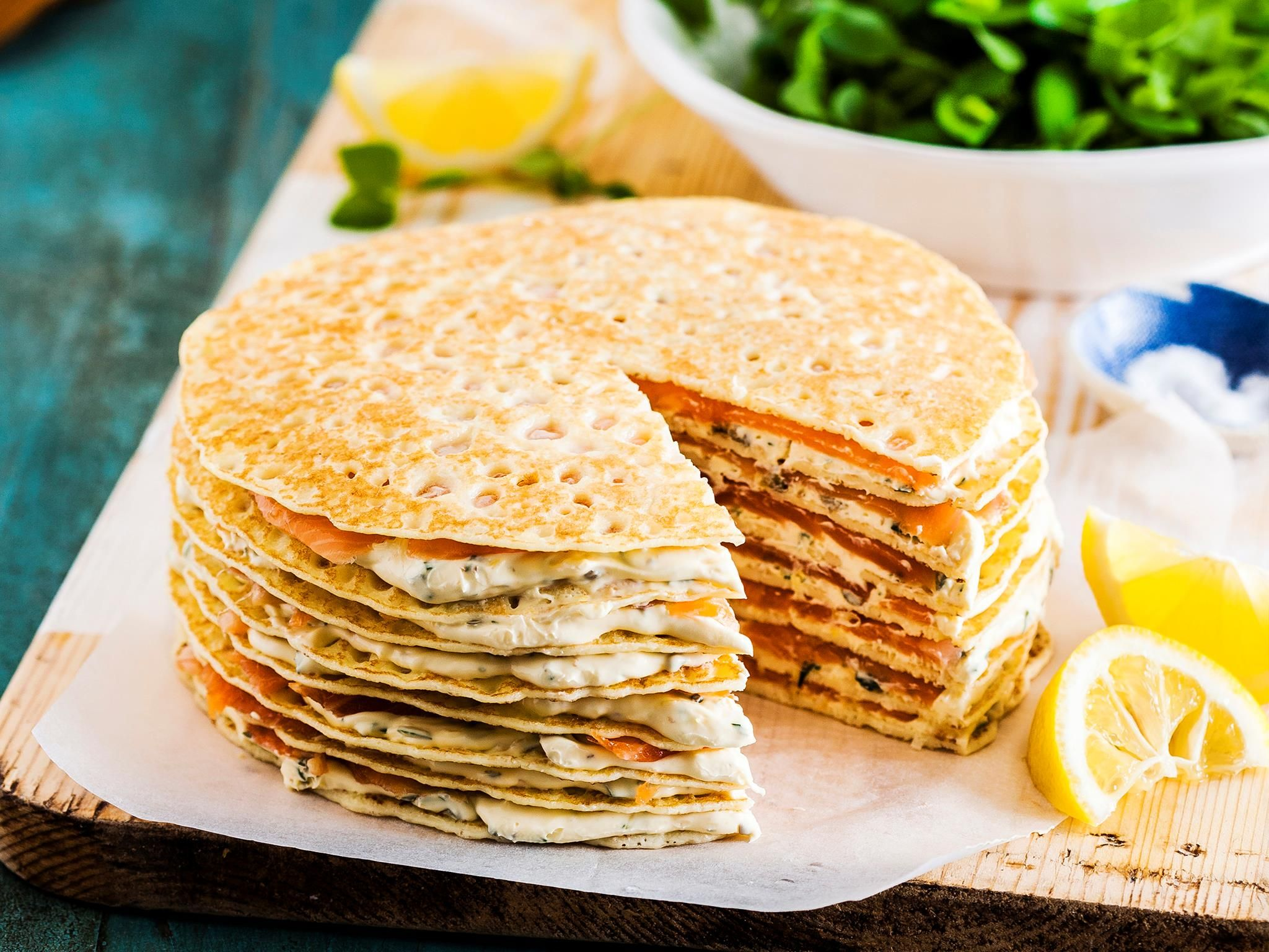 Smoked Salmon And Mascarpone Crepe Cake Recipe Crepe Cake Smoked Salmon Savory Crepes