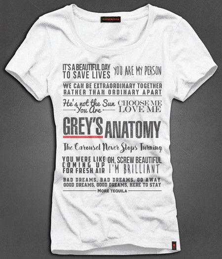 Camiseta Feminina Grey\'s Anatomy - Quotes | My Closet | Pinterest ...