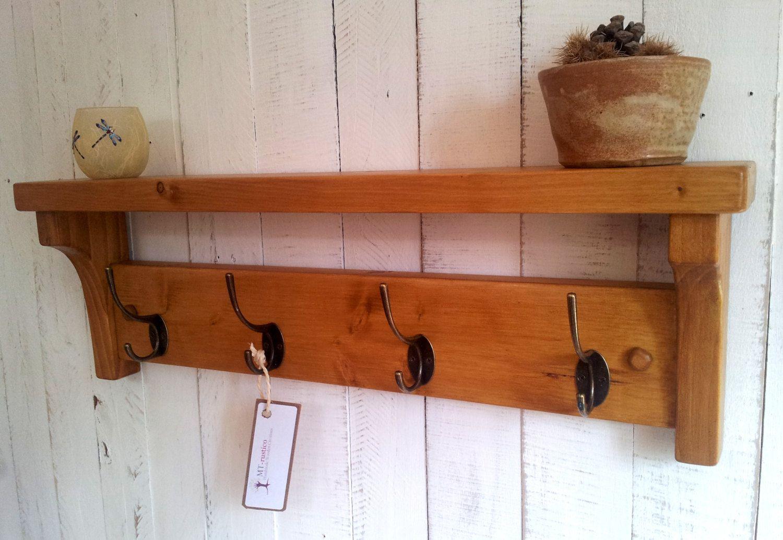 Coat rack with shelf rustic hallway hanger handmade entryway with