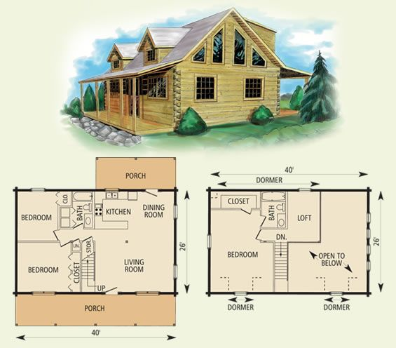 Nice Layout For Small Cabin Mount Vernon Ii Log Home And Floor Plan