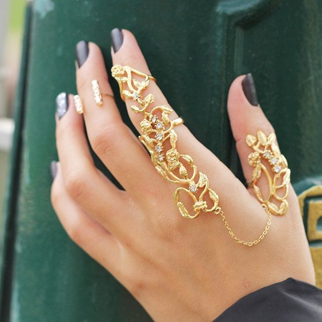 Hand Chain Ring-Statement Slave Rings-Filigree Ring-Gold Chain Dangle Charm Ring-Boho Gypsy Tribal Ring-Knuckle Ring-Unique Bridal Jewelry by Trinketmart on Etsy