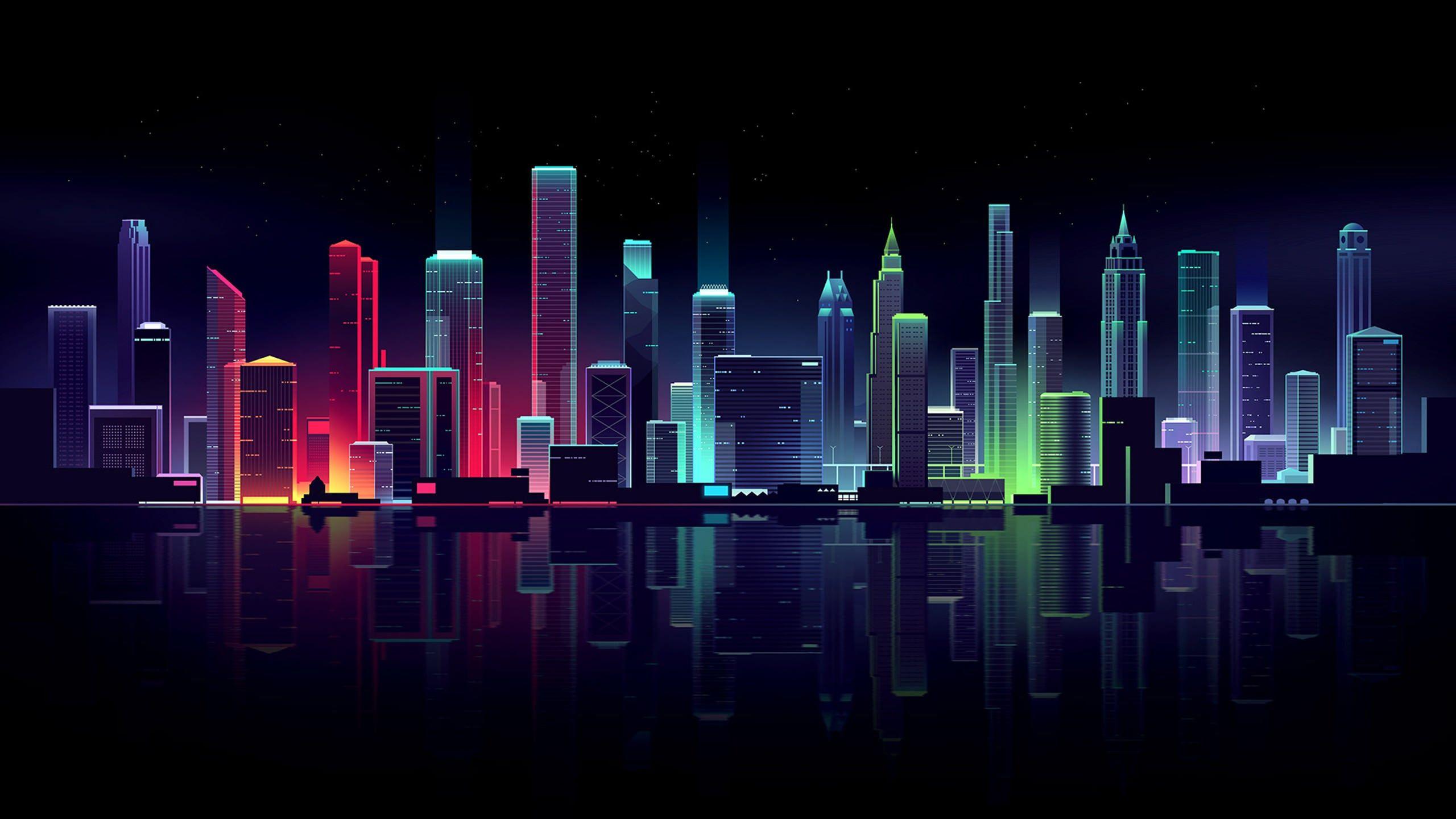 Minimalistic City Skyline Hd Wallpaper City Wallpaper Cityscape Wallpaper Neon Wallpaper
