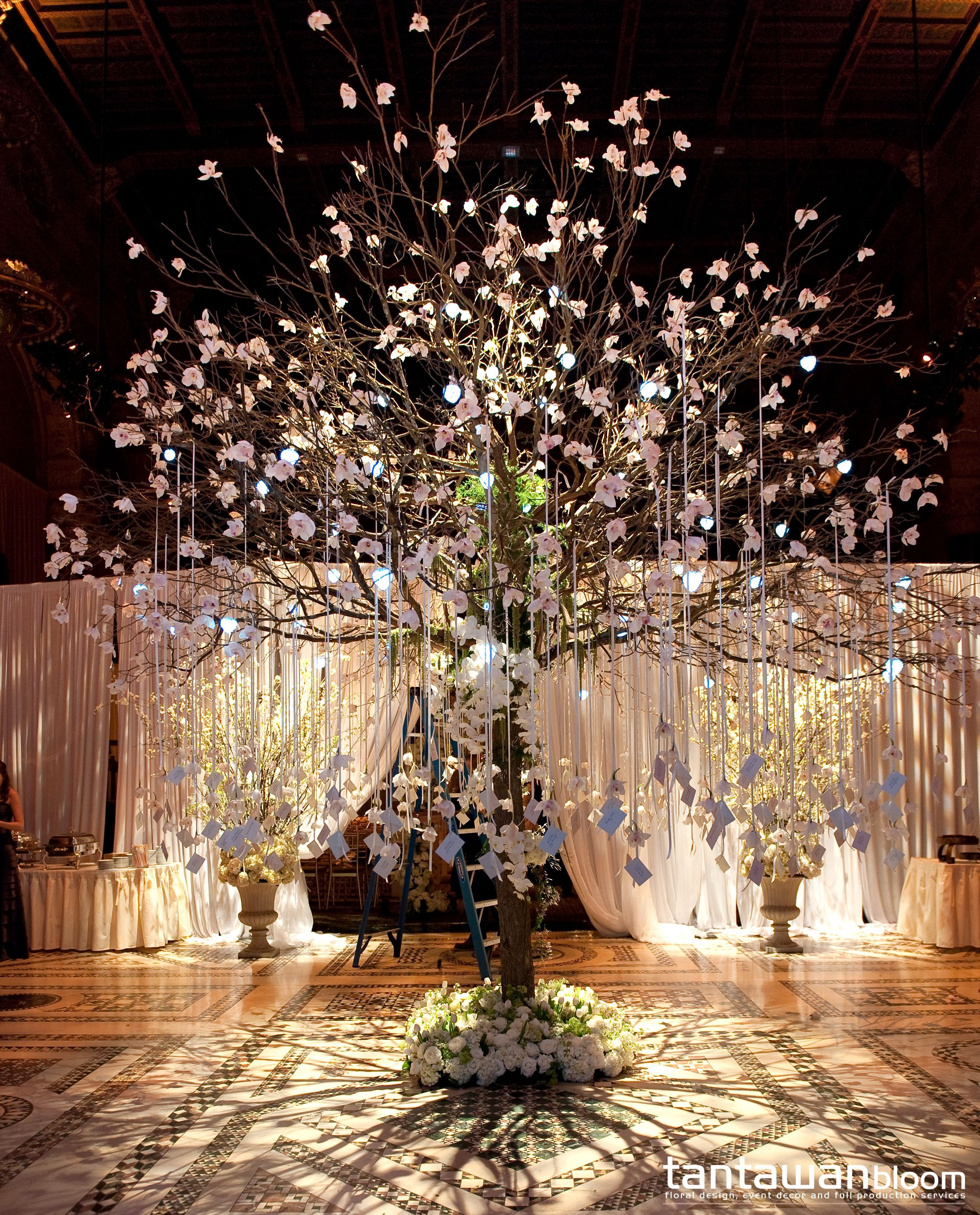 The 16 Feet Escort Card Tree With Orchids And Hanging