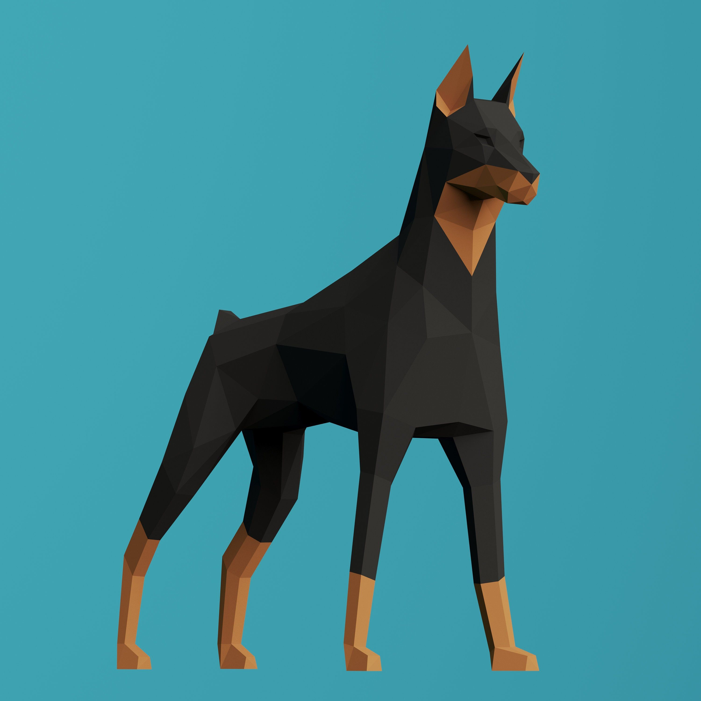 Papercraft 3d Big Doberman Sculpture Pepakura Gift For Dog Lover