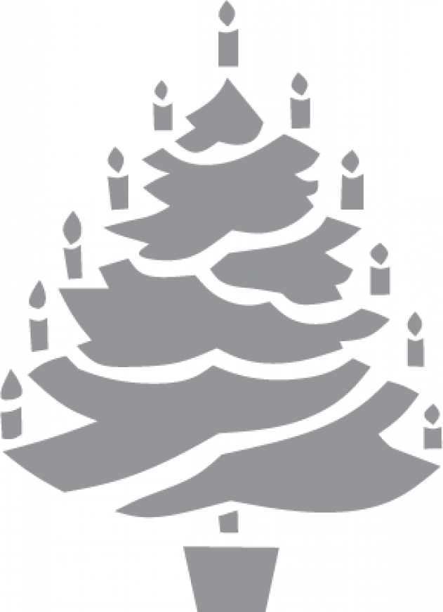 Glass etching stencil of Christmas Tree with Candles  In category