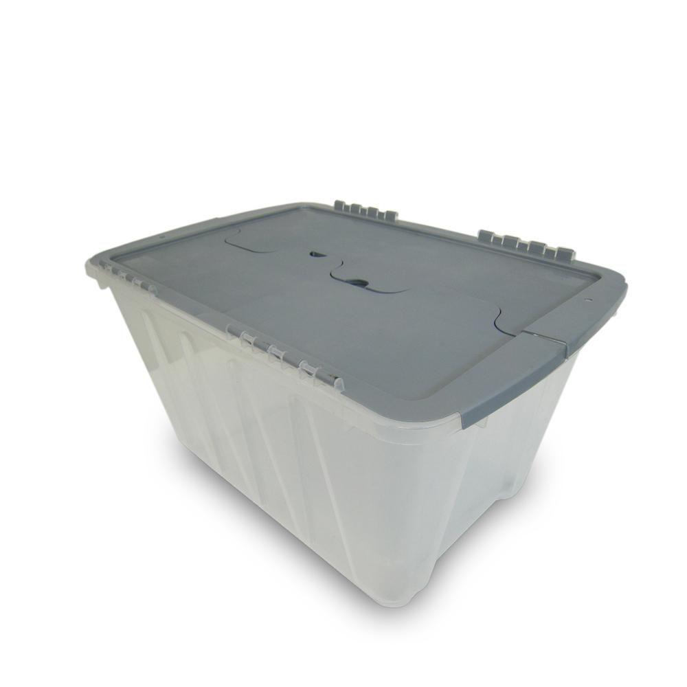 Homz 12 Gal Clear Storage With Gray Flip Lid 4 Pack Storage Storage Bins Storage Containers