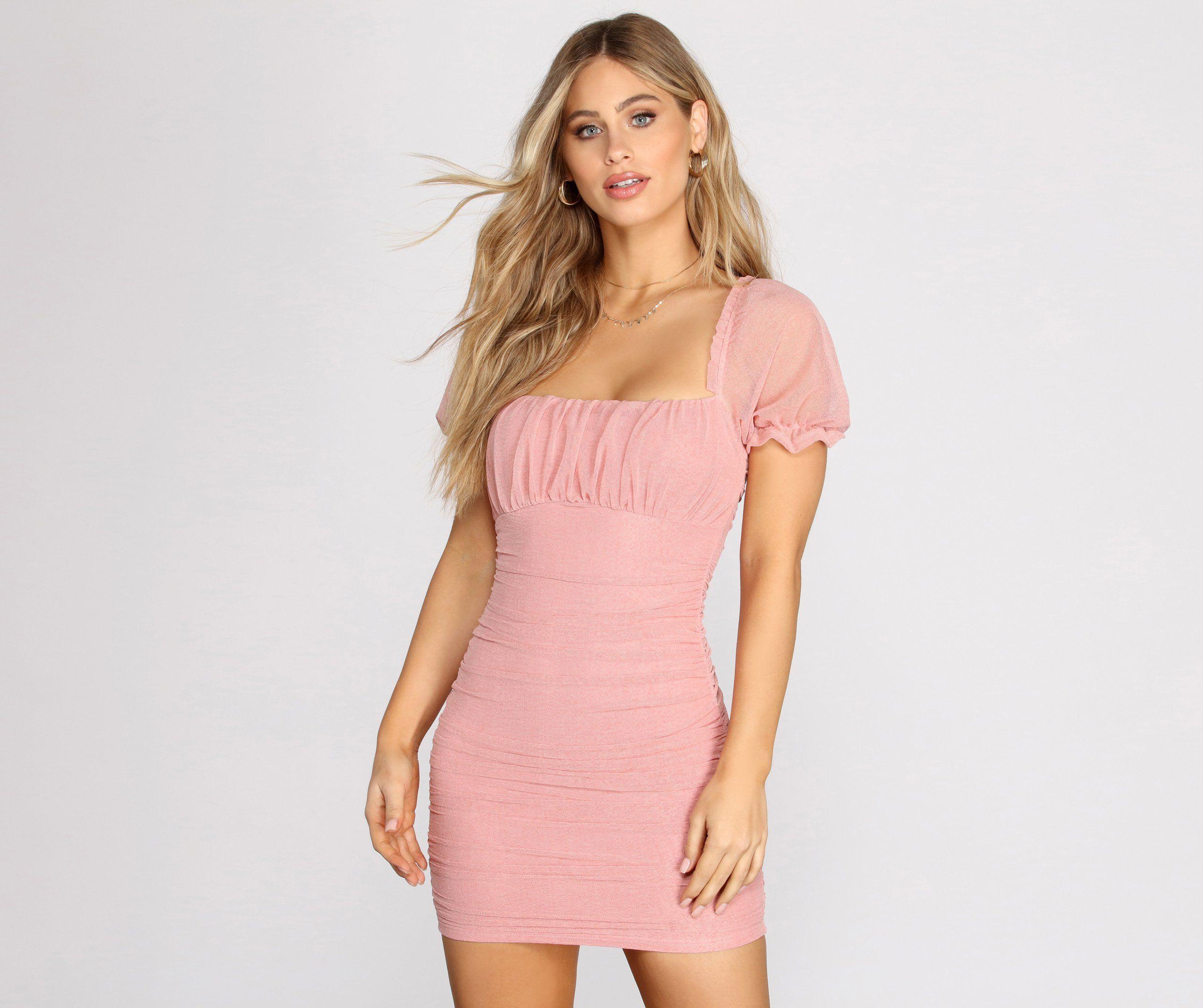 Romance In Ruffles Mini Dress In 2021 Mini Dress Pink Dress Casual Ruffle Mini Dress [ 2145 x 2560 Pixel ]