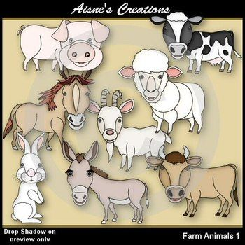 This pack contains 8 animals found on a farm. Blacklines included.
