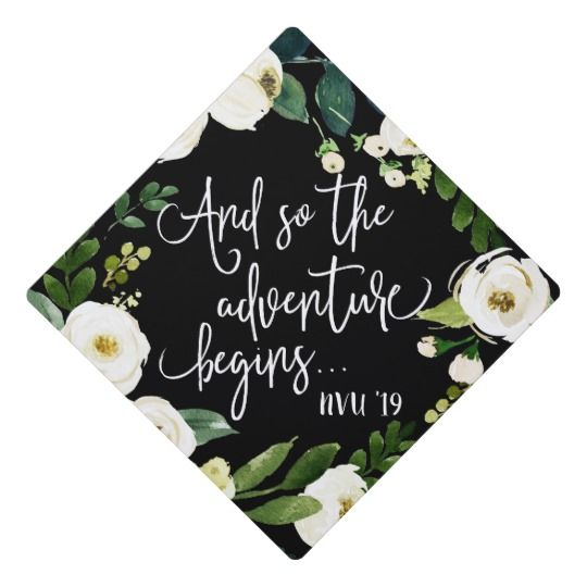 The Adventure Begins | Custom Class Year Graduation Cap Topper | Zazzle.com