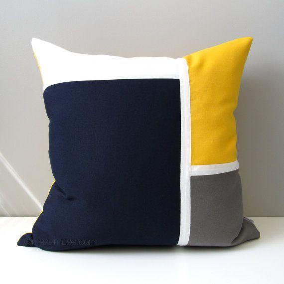 Navy Blue U0026 Yellow Outdoor Pillow Cover, Modern Nautical Pillow Cover,  Decorative Color Block, White Grey Sunbrella Pillow Cushion Cover