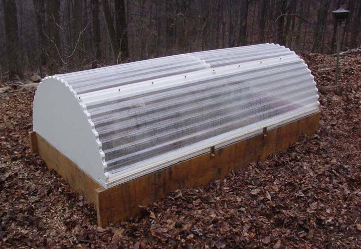 Raised Bed Hoop House Made Of Plywood And Corrugated Polycarbonate
