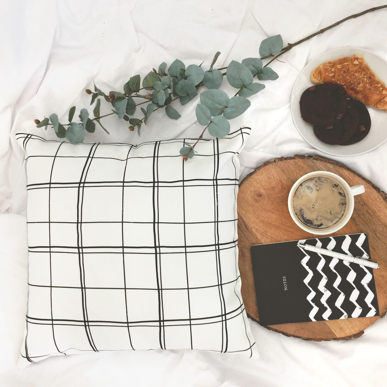 Black and white grid check cushion, scandinavian minimalist style ...