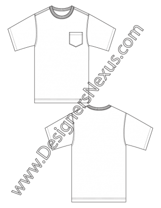 008- mens fashion flat sketch basic t-shirt sketch template with chest  pocket - d71b71251364a