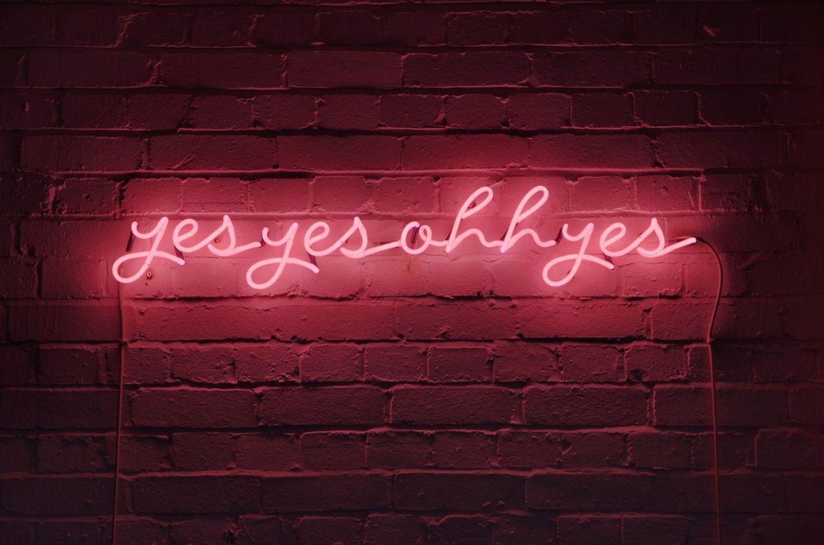 Yes yes oh yes casa pinterest neon lighting living spaces and pink neon art sign by karen ay aloadofball Image collections