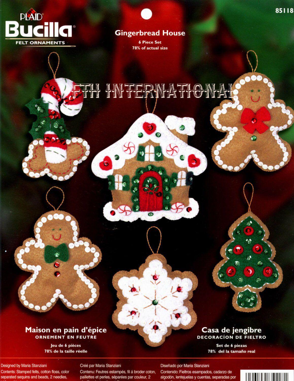 Bucilla Gingerbread House 6 Pce Felt Christmas Ornament Kit