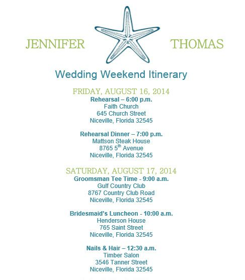 Starfish Beach Theme Wedding Itineray Template Download On