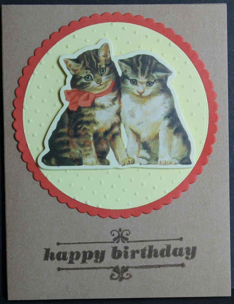 handmade birthday card cats kittens cute  ebay in 2020