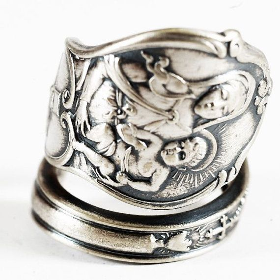catholic ring sterling silver spoon ring and