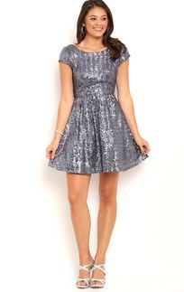 Charcoal Sequin Skater Dress with Cap Sleeves