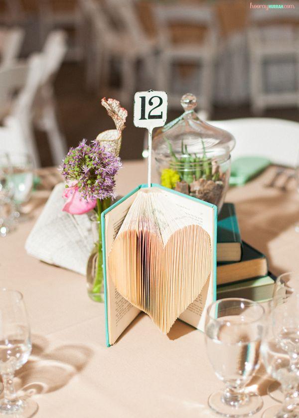 Folded Books Diy Wedding Decor Heart Centerpiece 2 Hooryhurrah