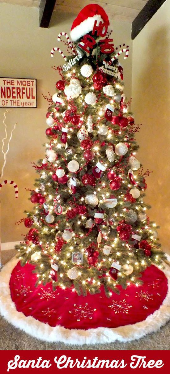 45 Christmas Trees and Decorations Ideas For The Home   decorations     Santa Christmas Tree  Red and white never looks so good unless Santa is  involved  Christmas decorations for the home