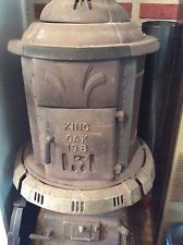 KING OAK Large Antique Pot Belly Wood Coal Burning Cast Iron Stove